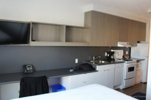 Kitchen facilities at Ponderosa Apartments at University of British Columbia, an affordable option to hotels in Vancouver