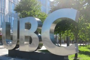 UBC sign of silver letters at University of British Columbia