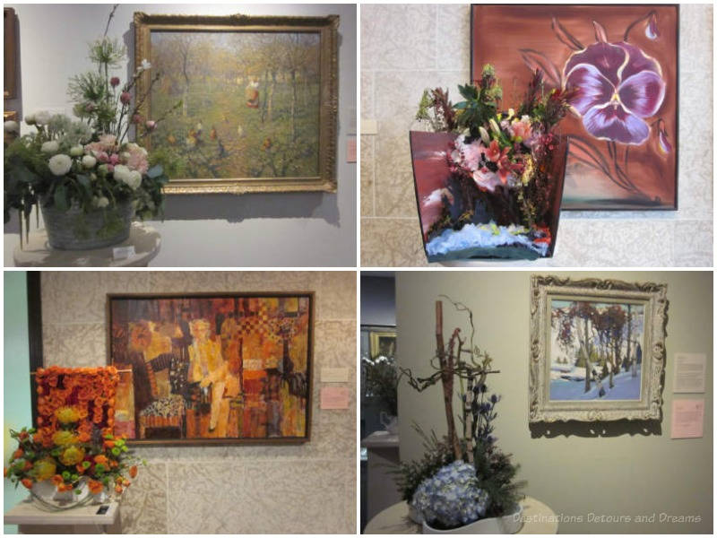 A collection of four floral arrangements accompanying Winnipeg Art Gallery artworks in the 2017 Art in Bloom exhibition