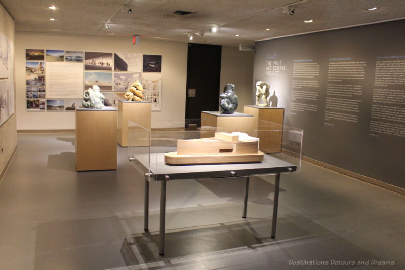 Room at Winnipeg Art Gallery providing information about the upcoming Inuit Art Centre