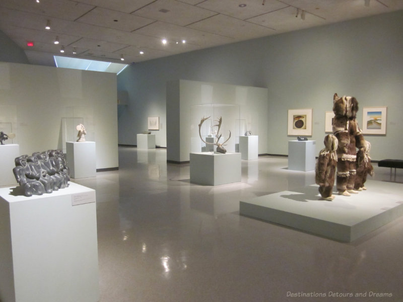 Room in the Winnipeg Art Gallery displaying a special exhibit of Inuit contemporary art