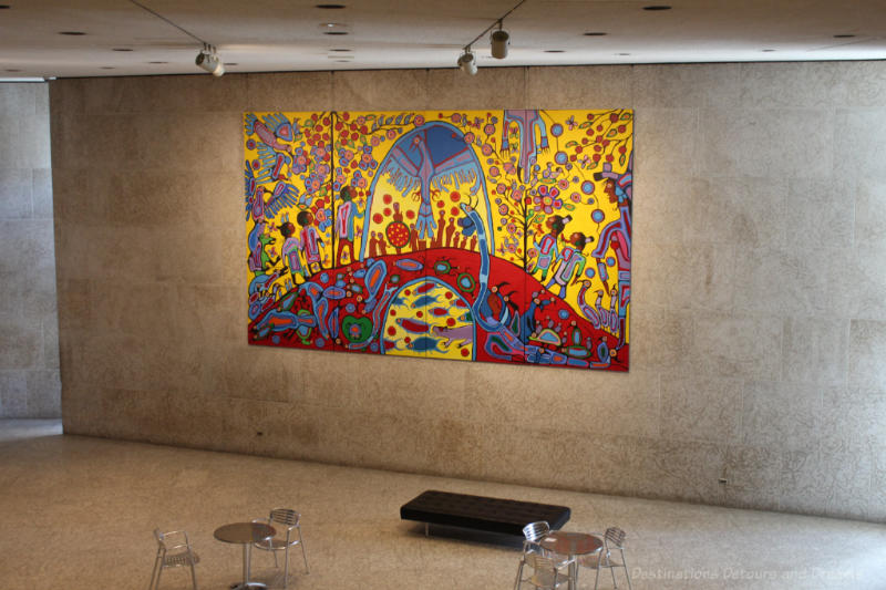Artwork Androgny by Norval Morrisseau on Tyndall stone walls of Winnipeg Art Gallery's Eckhardt Hall
