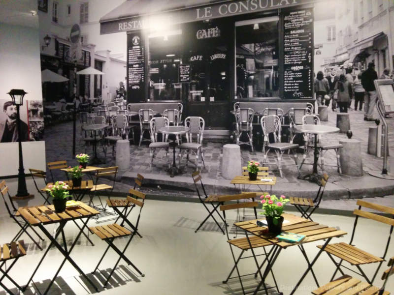 The recreation of a Paris sidewalk café to complement two concurrent exhibitions at the Winnipeg Art Gallery featuring French art