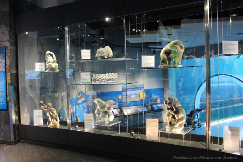 Display case of Inuit Art at Journey to Churchill