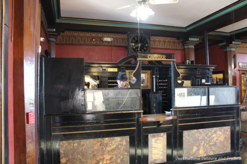Vintage cashier desk front desk area of Crescent Hotel & Spa