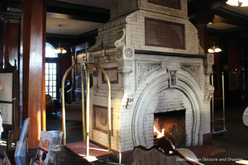 White old large fireplace constructed of Eureka Springs marble in Crescent Hotel lobby