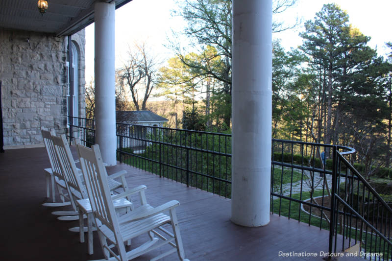 Rocking chairs on veranda of Crescent Hotel & Spa