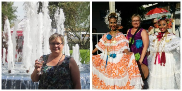Donna in Scottsdale in front of fountain and in Panama at Polleras Parade