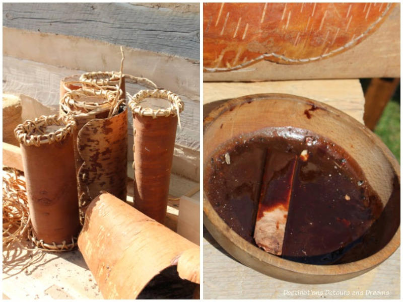 Birch bark and spruce resin used to make birch bark canoes