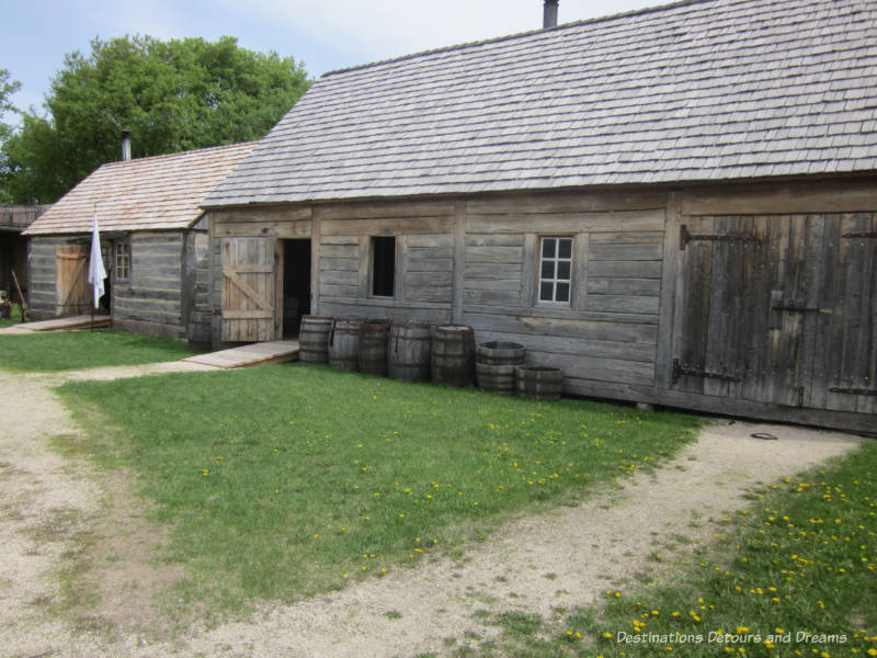 Wooden buildings at Fort Gibraltar in Winnipeg, Manitoba
