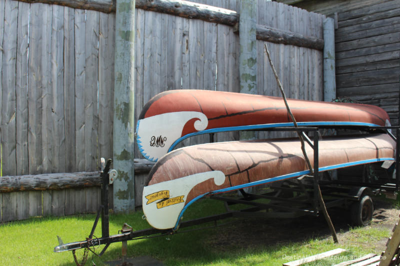 Two canoes stored at Fort Gibraltar