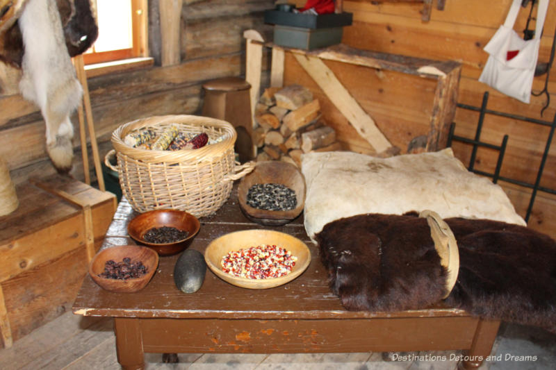 Display of corn and fur in the storeroom at Fort Gibraltar