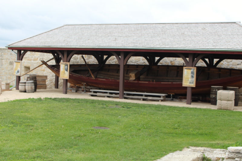 York boat under covered open shed at Lower Fort Garry