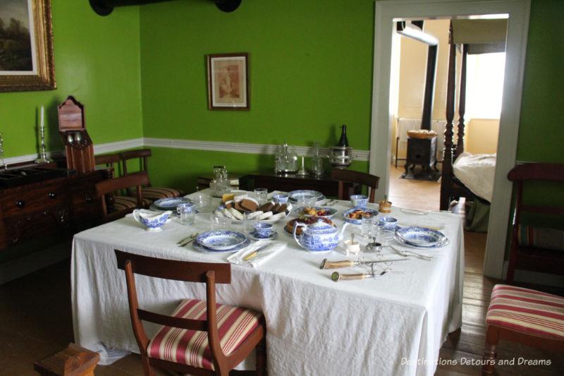 Elegant dining room of Governor's quarters in Lower Fort Garry