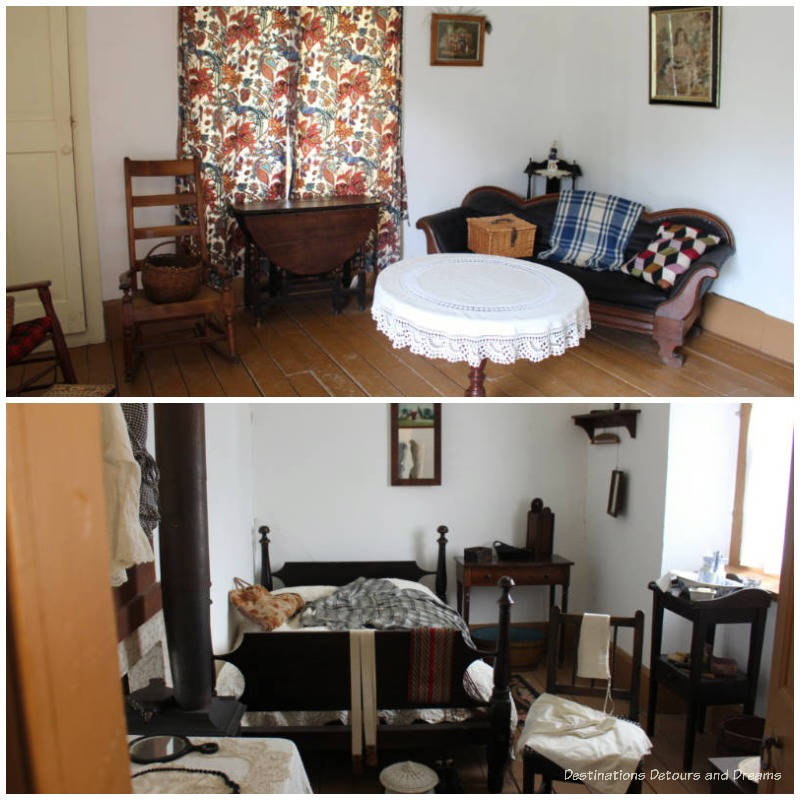 Sitting room and bedroom inside Ross Cottage at Lower Fort Garry
