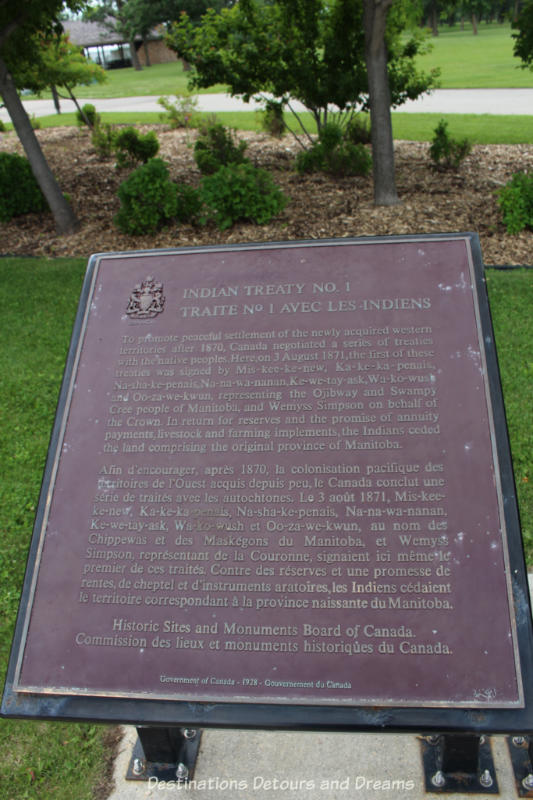 Treaty 1 marker at Lower Fort Garry