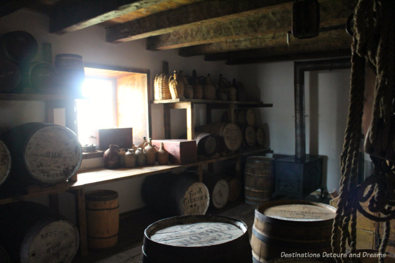 Whiskey barrels stored at Lower Fort Garry National Historic Site