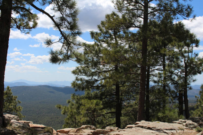 View of cliffs and ponderosa pine forests near the top of Mogollon Rim in  Arizona