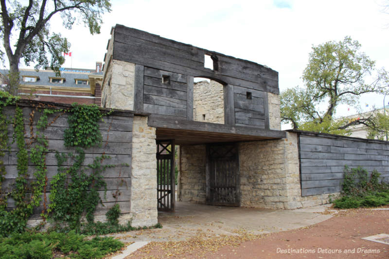 Gate from the old fort at Upper Fort Garry Provincial Park