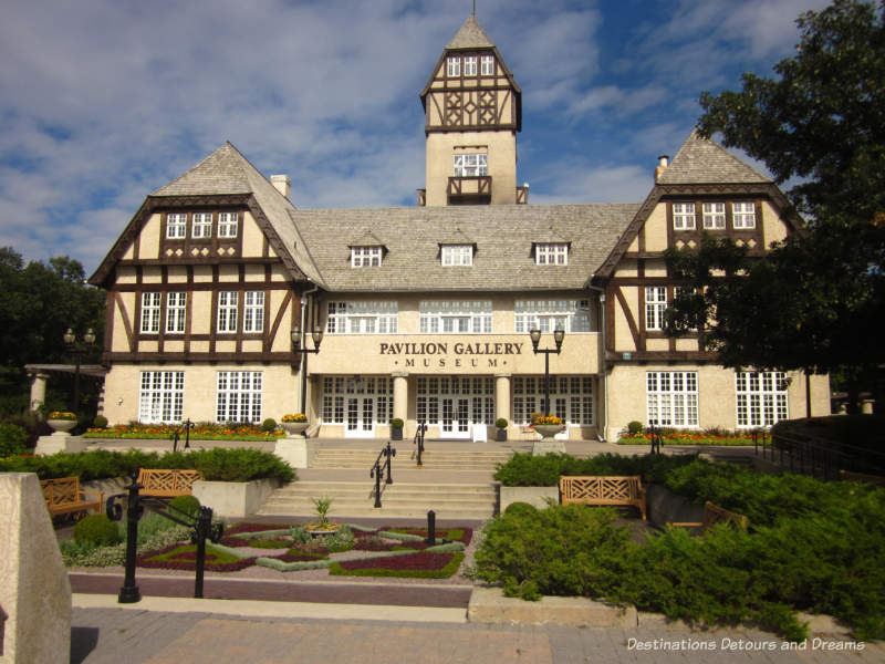 The Tudor style Pavilion Gallery building at Assiniboine Park