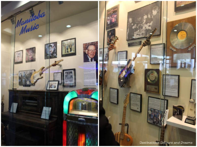 Manitoba Music display cases at Pembina Highway Salisbury House in Winnipeg, Manitoba
