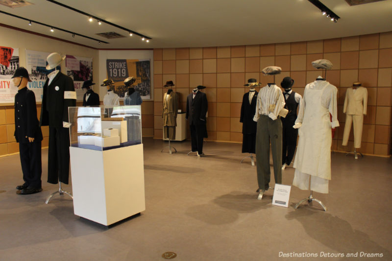 Period clothing and other exhibits on display at Dalnavert 1919 Winnipeg General Strike exhibit