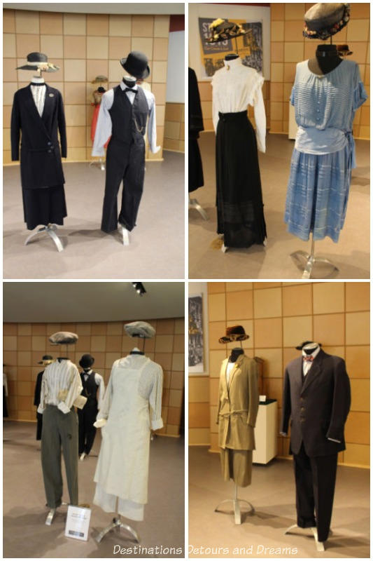 Collection of period clothing on display at STRIKE 1919: Our Cause is Just exhibit at Dalnavert Museum