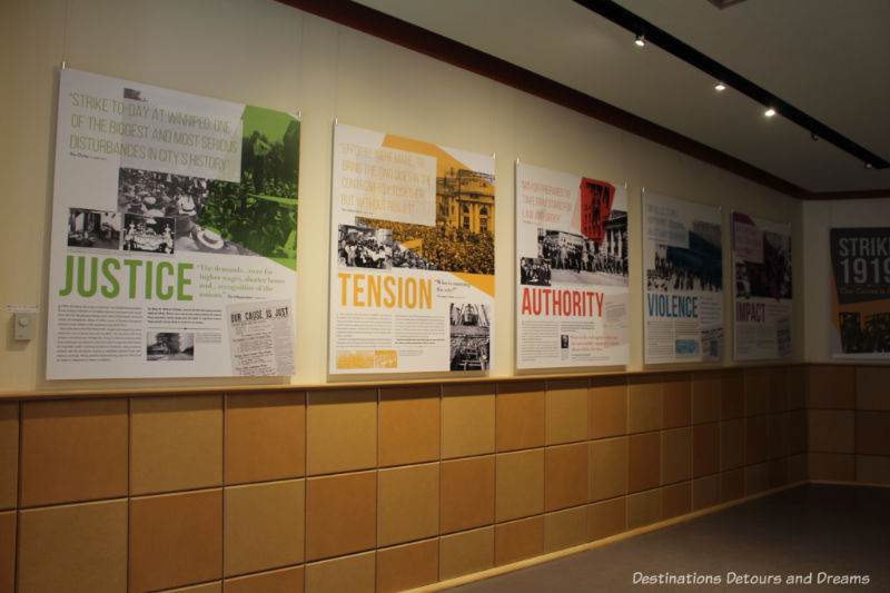 Panels with information about the 1919 Winnipeg General Strike at Dalnavert's exhibit