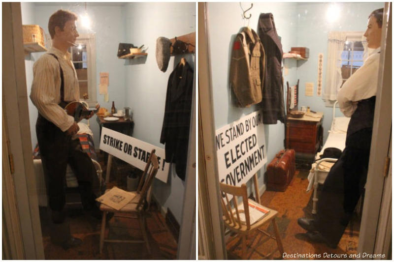 Pro-strike and anti-strike mannequins in adjacent rooms at the hotel in the Manitoba Museum Strike 1919: Divided City Exhibit