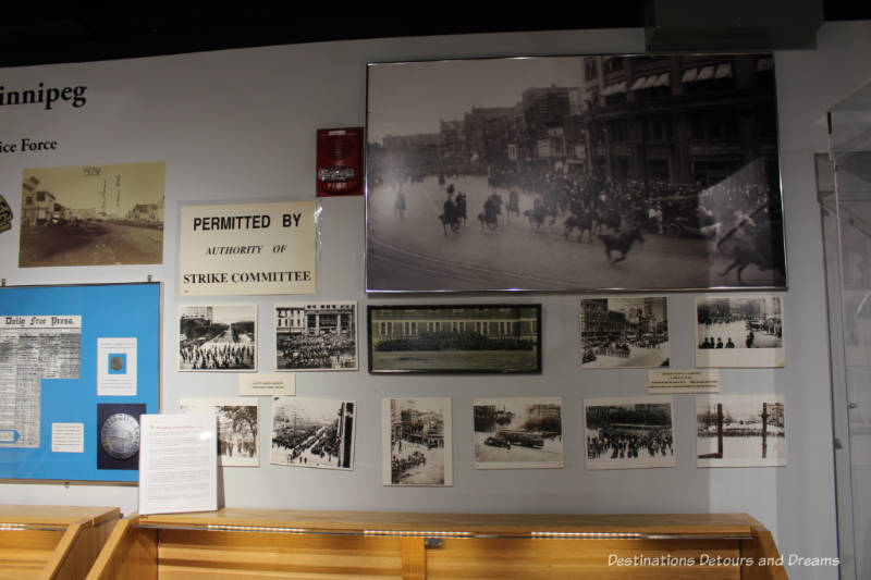 Photographs and clippings on a wall of the 1919 General Strike exhibit at the Winnipeg Police Museum