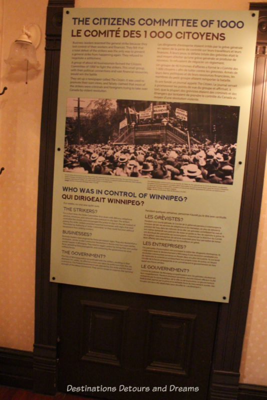 Placard with questions about the 1919 Winnipeg General Strike at the Manitoba Museum exhibit