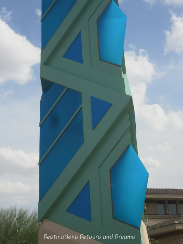 Blue and teal translucent tiles of the Scottsdale Tower
