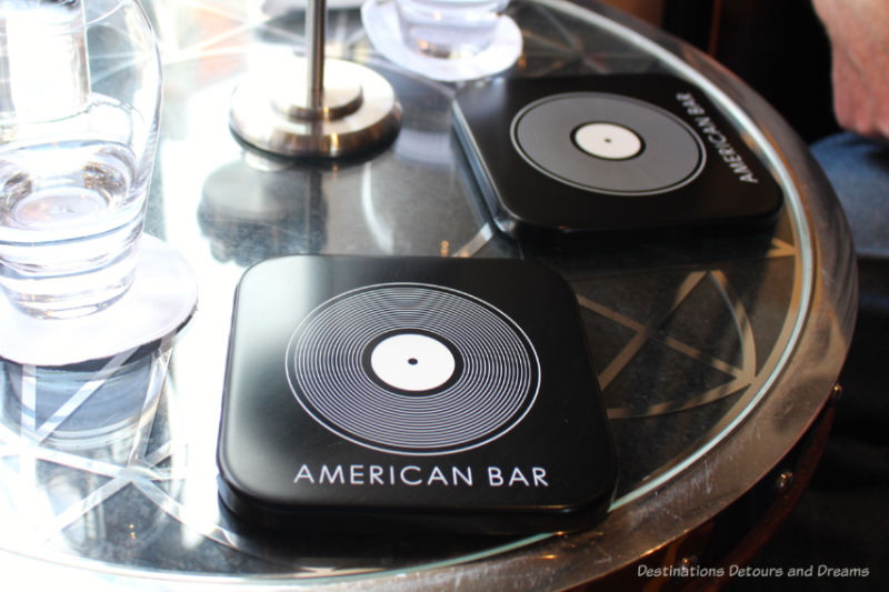 Musical themed coasters at the Savoy Hotel American Bar