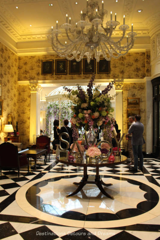 Elegant decor of a hall in the Savoy Hotel in London