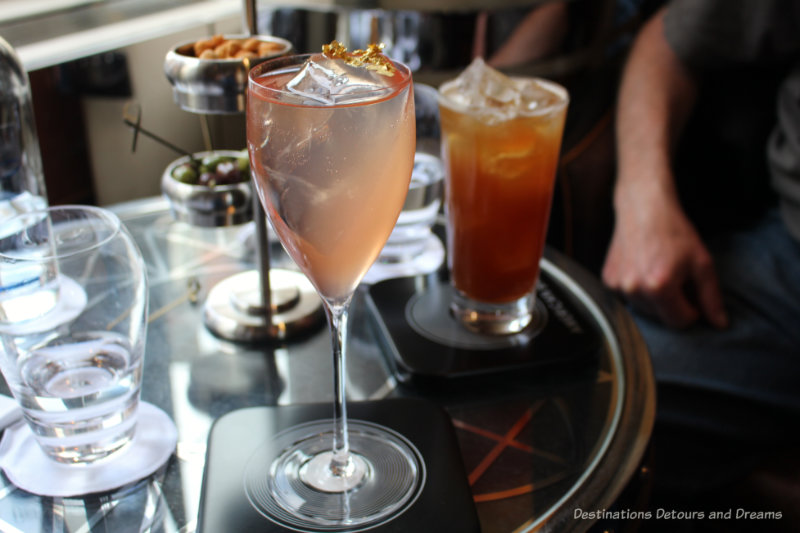Cocktails and snacks at the American Bar in the Savoy Hotel in London