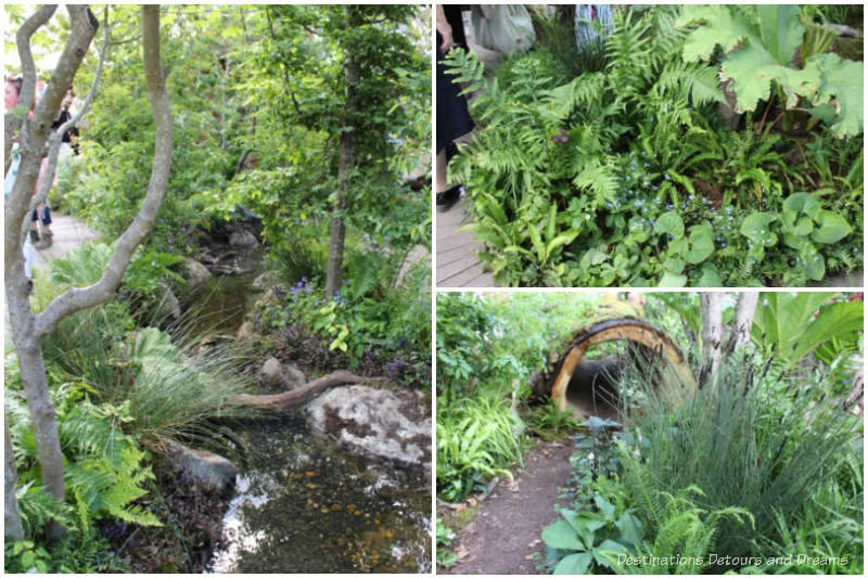 Assorted elements of the RHS Back to Nature Garden at the 2019 Chelsea Flower including a stream, hollowed-out tree trunk, and greenery