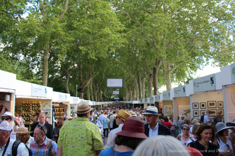 One aisle of exhibitor booths at the 2019 Chelsea Flower Show