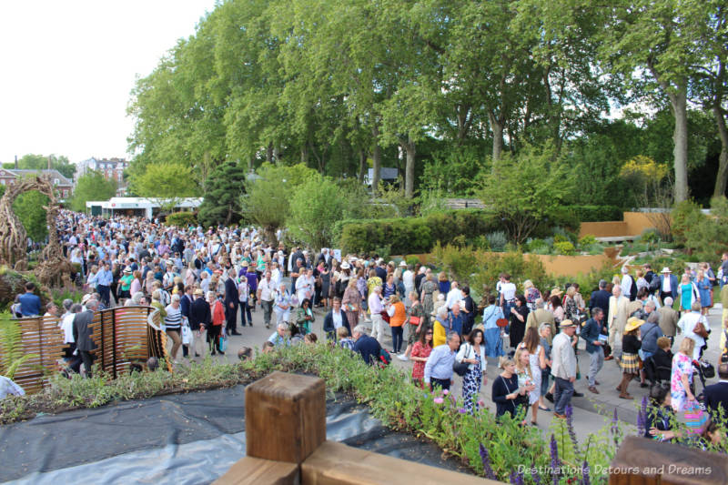 Crowd at the Chelsea Flower Show viewed from an upper level
