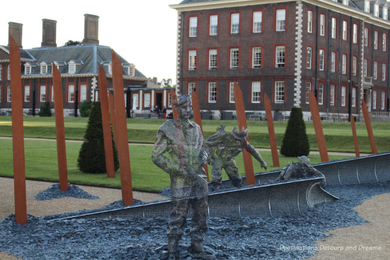 Soldier sculptures in the D-Day 75 Garden on the grounds of the Royal Hospital in Chelsea
