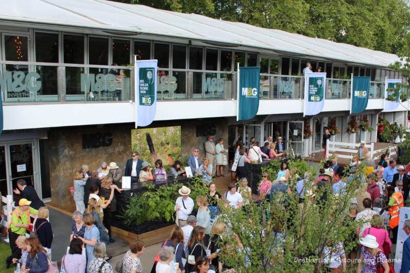 Building with drinking and dining facilities at the Chelsea Hlower Show