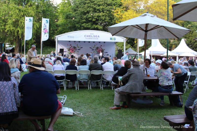 Entertainment tent at Chelsea Flower Show