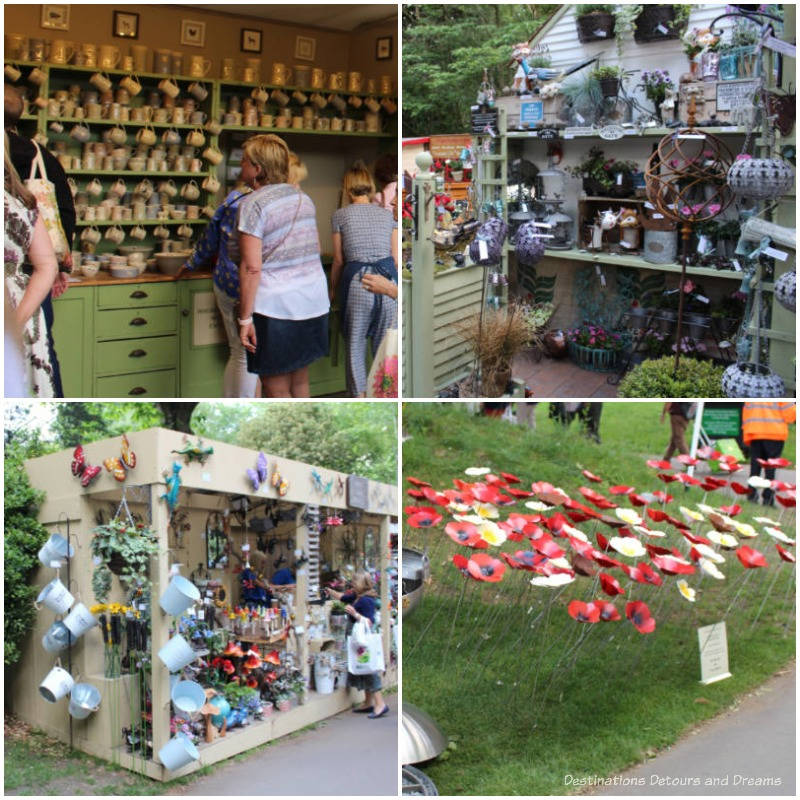 Sampling of exhibitor items for sale at 2019 Chelsea Flower Show