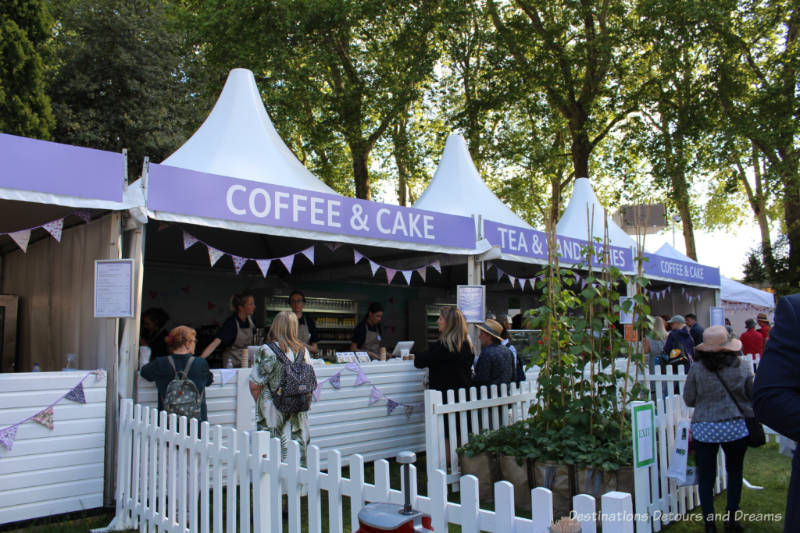 Coffee, cake, and tea tents at the Chelsea Flower Show