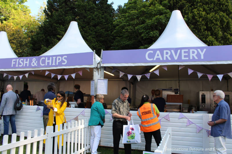 Fish & Chips and Carvery food tents at the Chelse Flower Show