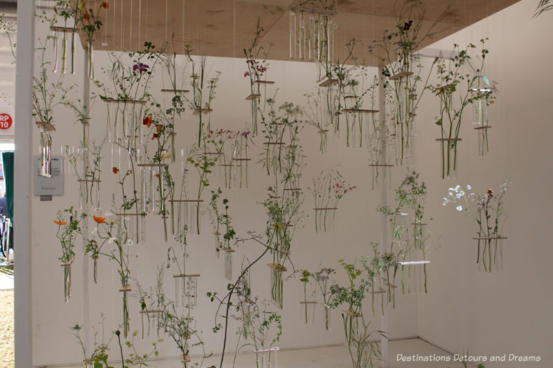 Suspended test tubes with plant stems in the Come What May floral installation at the 2019 Chelsea Flower Show