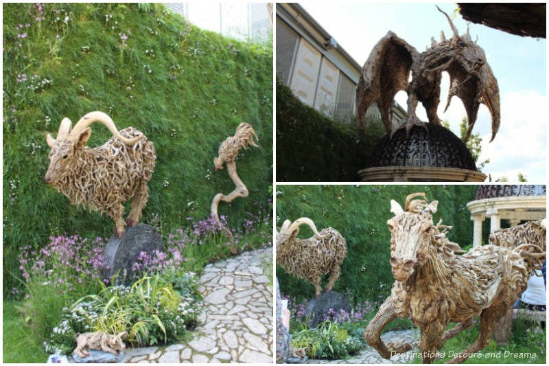 Driftwood sculptures by Jame Doran-Webb at the 2019 Chelsea Flower Show
