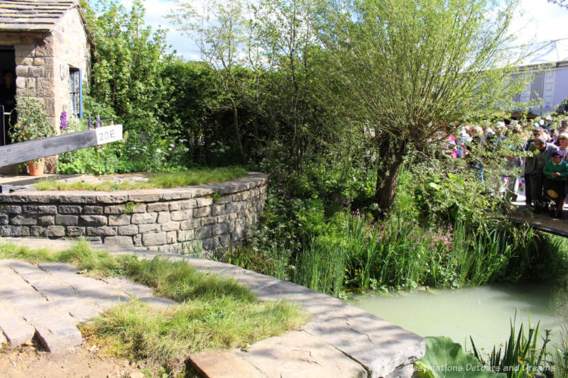 Pond plantings at the Welcome To Yorkshire Garden at the 2019 Chelsea Flower Show
