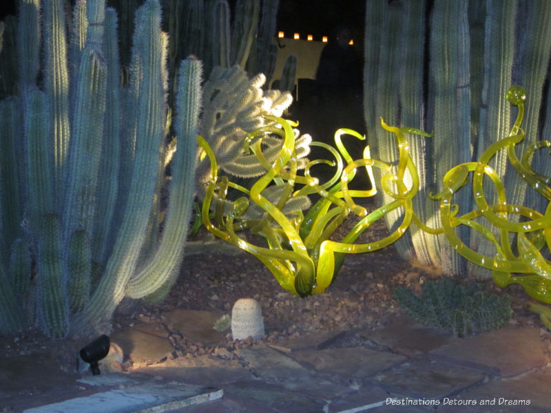 Chihuly Citron and Yellow Flori at night