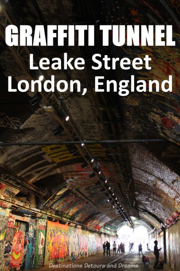London Graffiti Tunnel. Leake Street Tunnel near Waterloo Station in London, England is filled with graffiti art. #London #England #graffiti #graffitiart