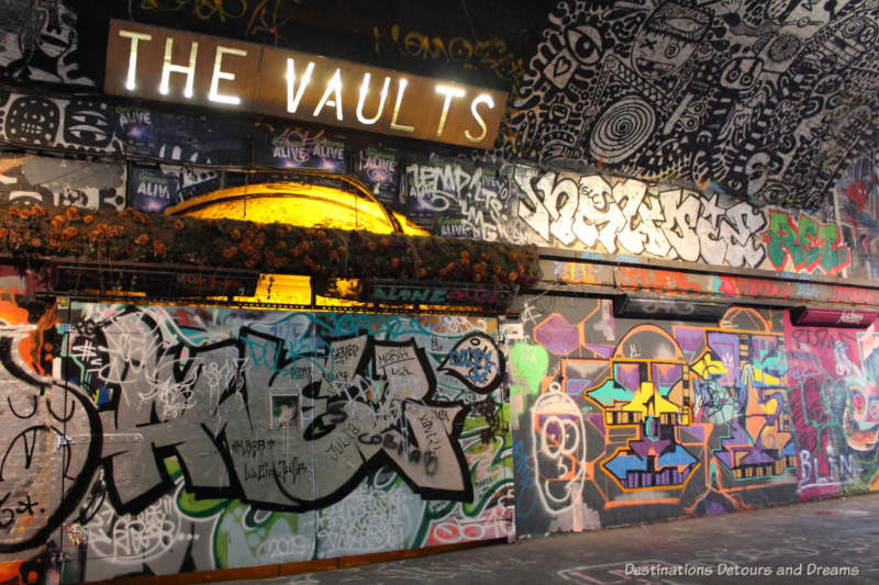 The Vaults entertainment venue behind murals in London Graffiti Tunnel